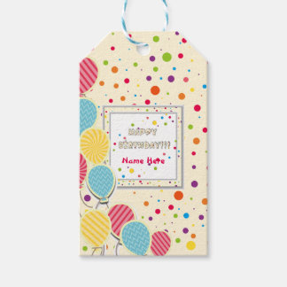 Happy Colorful Birthday Pack Of Gift Tags