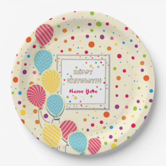 Happy Colorful Birthday Paper Plates