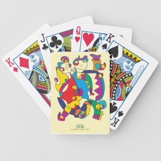happy colorful couple friends love illustration bicycle playing cards