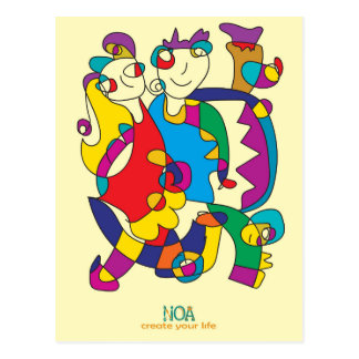 happy colorful couple friends love illustration postcard