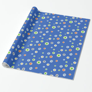 Happy colorful daisies on blue wrapping paper