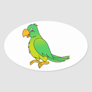 Happy Colorful Green Parrot Bird Oval Sticker