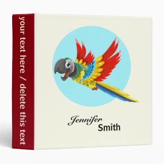 Happy colorful parrot cartoon kids 3 ring binder