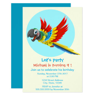 """Happy colorful parrot cartoon kids birthday party 3.5"""" x 5"""" invitation card"""