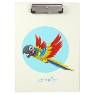 Happy colorful parrot cartoon kids clipboard