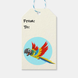 Happy colorful parrot cartoon kids gift tags