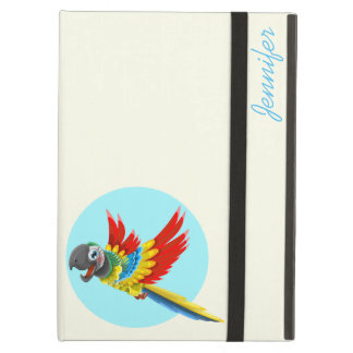 Happy colorful parrot cartoon kids iPad air cover