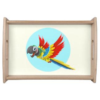Happy colorful parrot cartoon kids serving platter
