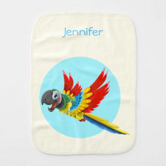Happy colorful parrot cartoon name baby baby burp cloth
