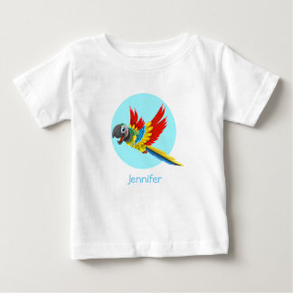 Happy colorful parrot cartoon name baby shirt