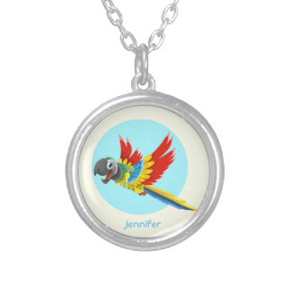 Happy colorful parrot cartoon name silver plated necklace