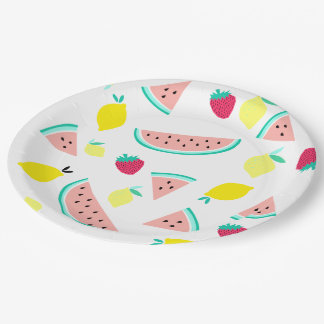 happy colorful summer fruits 9 inch paper plate