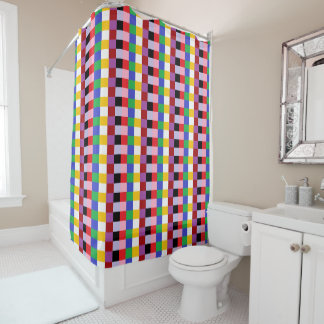 Happy Colors Pixel Squares Abstract Shower Curtain
