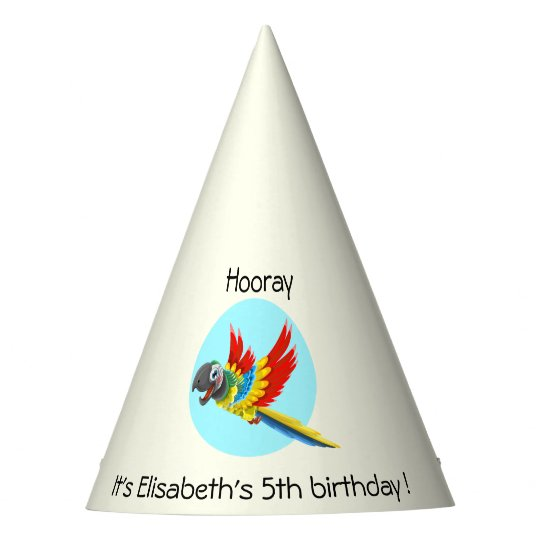 Happy colourful parrot cartoon kids birthday party hat