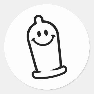 Happy condom face classic round sticker