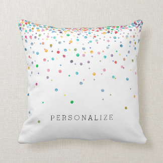 Happy Confetti Dots Throw Pillow