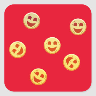 happy cookies faces square sticker