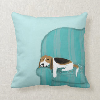 Happy Couch Dog - Cute Beagle Relaxing Throw Pillows