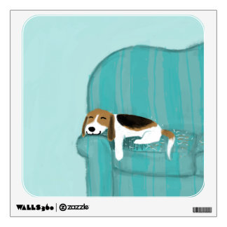 Happy Couch Dog - Cute Beagle Wall Decal