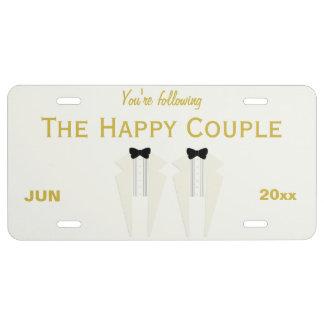 Happy Couple Cream Tuxedo Wedding License Plate