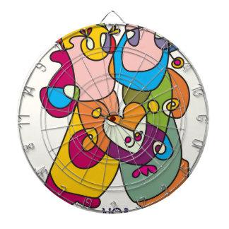happy couple love friends naive art colorful dartboard