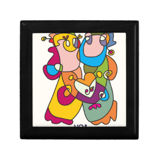 happy couple love friends naive art colorful gift box