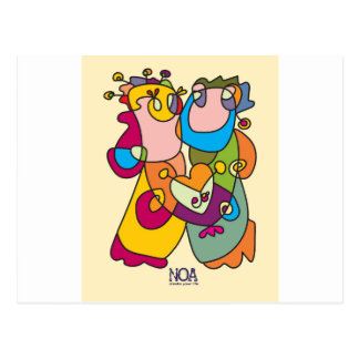 happy couple love friends naive art colorful postcard