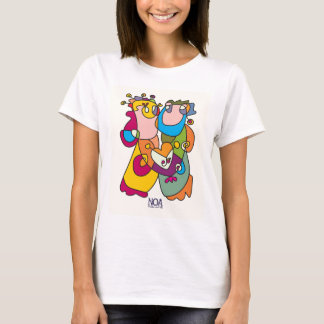 happy couple love friends naive art colorful T-Shirt