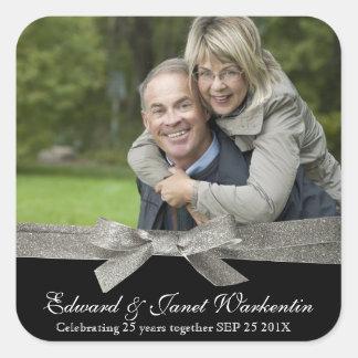 Happy Couple Photo with Silver Glitter Ribbon Square Sticker