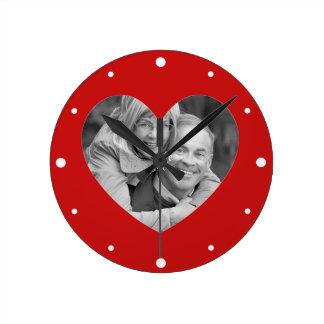 Happy Couple Valentines Heart Frame Wallclock