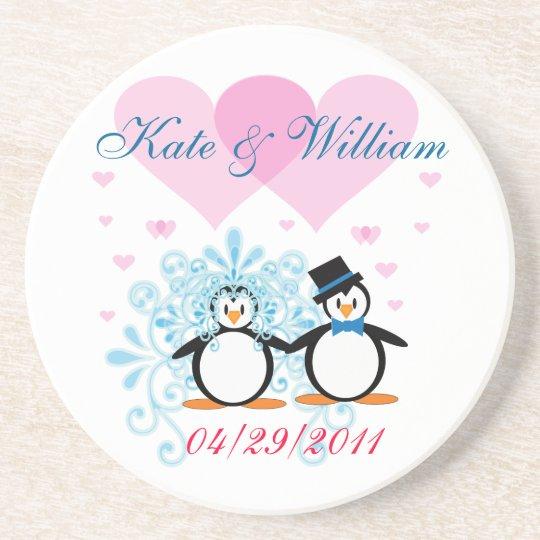 Happy Couple Wedding Penguin Coaster - Customizabl