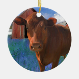 Happy Cow in West Marin Round Ceramic Ornament