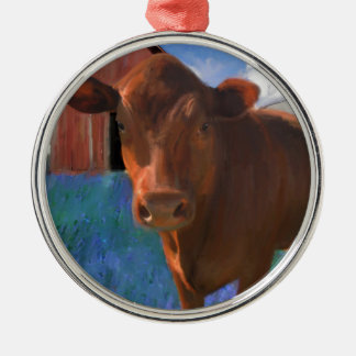 Happy Cow in West Marin Silver-Colored Round Ornament