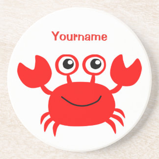 Happy Crab custom monogram coaster