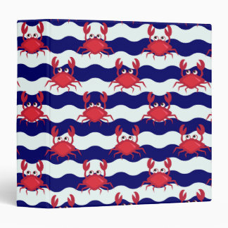 Happy Crabs Pattern 3 Ring Binder
