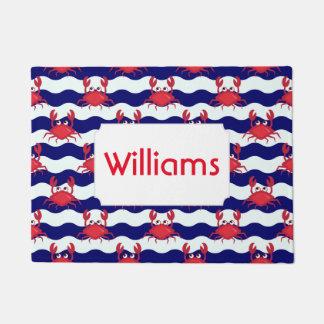 Happy Crabs Pattern | Add Your Name Doormat