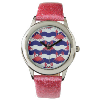 Happy Crabs Pattern Wristwatches