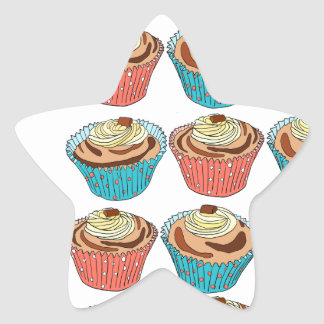 Happy Cup Cakes Star Sticker