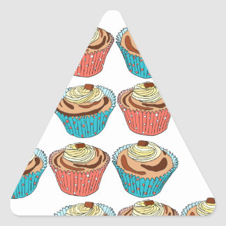 Happy Cup Cakes Triangle Sticker