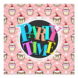 "Happy Cupcakes on Pink Chevron Stripes 5.25"" Square Invitation Card"