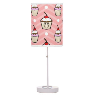 Happy Cupcakes on Pink Chevron Stripes Table Lamp