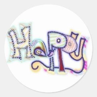 Happy ~ customizable stickers! classic round sticker