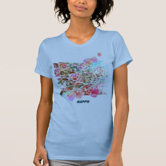 HAPPY cute art t-shirt with semi-abstract flowers