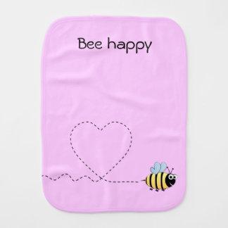 Happy cute bee cartoon pun pink baby burp cloth