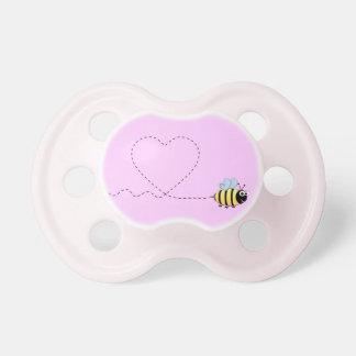 Happy cute bee cartoon pun pink baby girl baby pacifiers