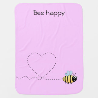 Happy cute bee cartoon pun pink baby swaddle blankets