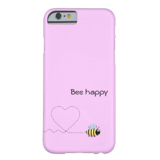 Happy cute bee cartoon pun pink barely there iPhone 6 case