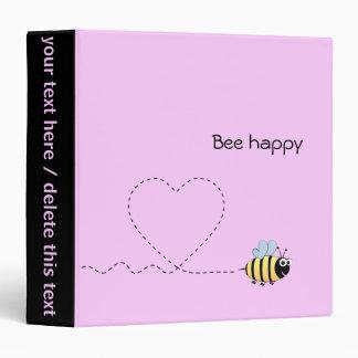 Happy cute bee cartoon pun pink binders
