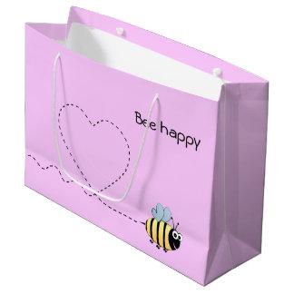 Happy cute bee cartoon pun pink girl large gift bag