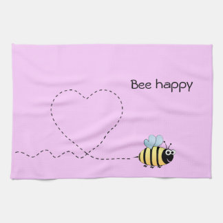 Happy cute bee cartoon pun pink hand towel